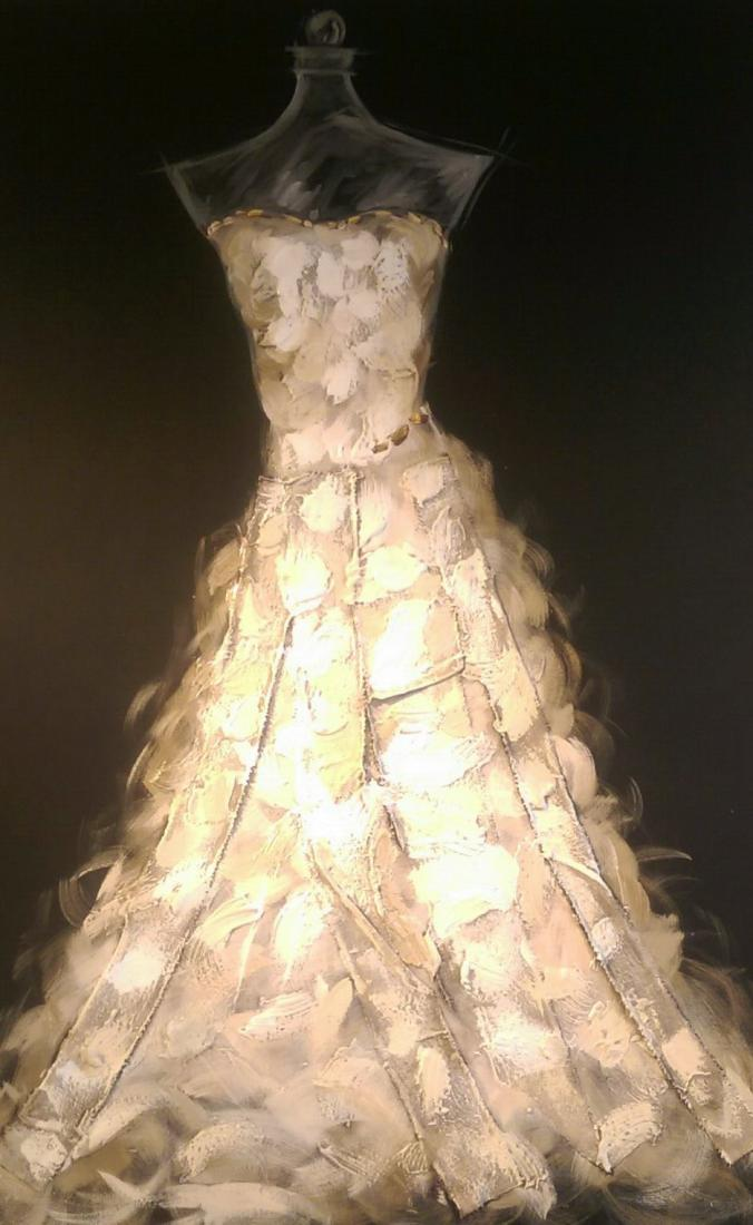 Glowing Bridal Gown Display